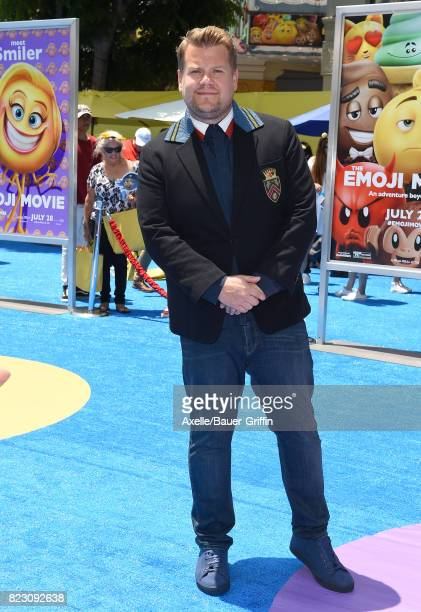 TV host James Corden arrives at the premiere of 'The Emoji Movie' at Regency Village Theatre on July 23 2017 in Westwood California