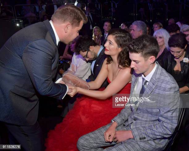 Host James Corden, recording artists Jack Antonoff, Lorde and Angelo Yelich-O'Connor attend the 60th Annual GRAMMY Awards at Madison Square Garden on...