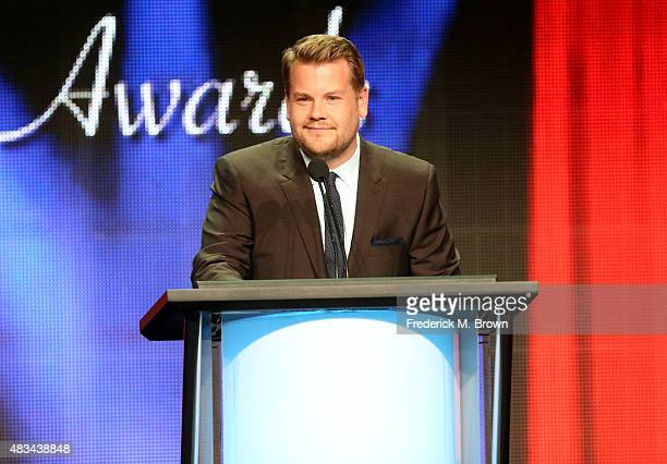 Host James Corden speaks onstage at the 31st annual Television Critics Association Awards at The Beverly Hilton Hotel on August 8 2015 in Beverly...