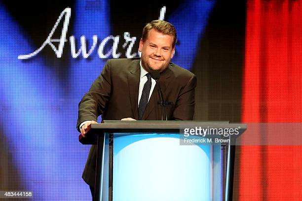 Host James Corden speaks onstage at the 31st annual Television Critics Association Awards at The Beverly Hilton Hotel on August 8, 2015 in Beverly...