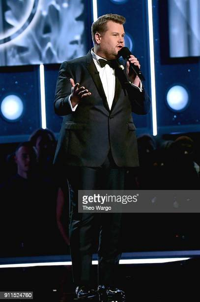 Host James Corden speaks onstage during the 60th Annual GRAMMY Awards at Madison Square Garden on January 28 2018 in New York City