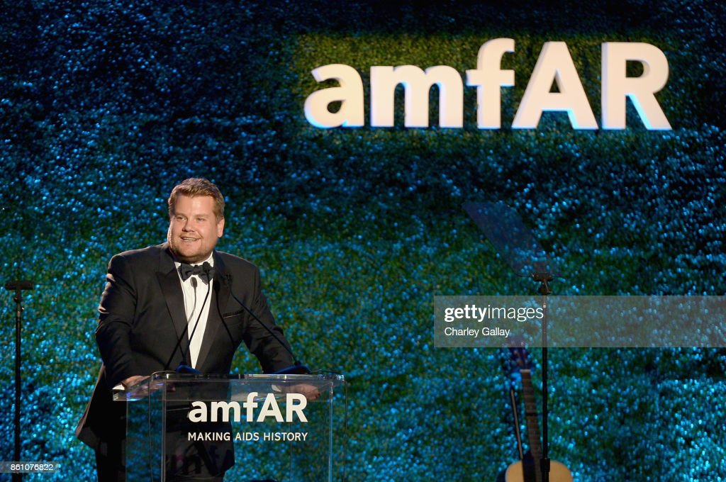 Host James Corden speaks onstage during the amfAR Gala Los Angeles 2017 at Ron Burkle's Green Acres Estate on October 13, 2017 in Beverly Hills, California.