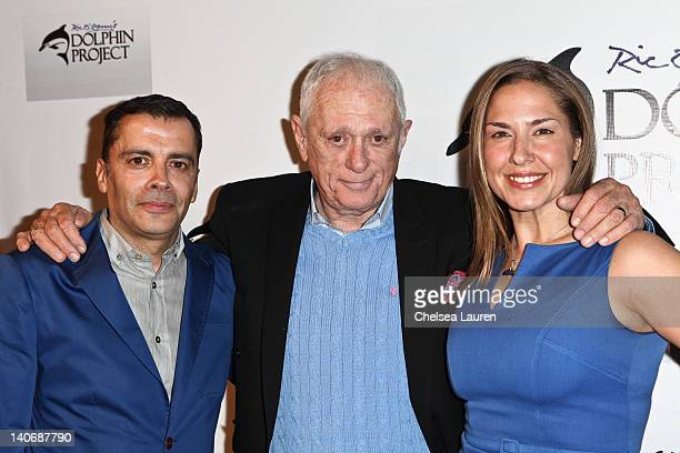 Host James Costa activist Ric O'Barry and Deborah Bassett arrive at the cocktail reception honoring Richard O'Barry on March 3 2012 in West Hollywood...