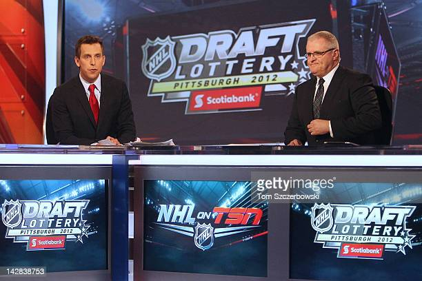 TSN host James Duthie and analyst Bob McKenzie during the NHL Draft Lottery on April 10 2012 at the TSN Studios in Toronto Ontario Canada