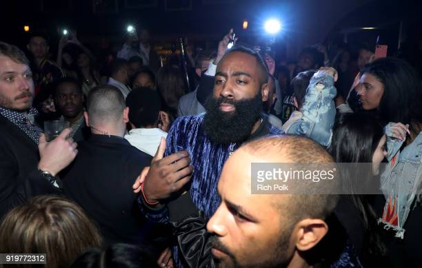 Host James Harden attends GOAT and James Harden Celebrate NBA AllStar Weekend 2018 at Poppy on February 17 2018 in Los Angeles California