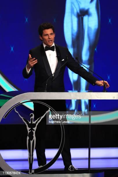 Host James Marsden talks on stage during the 2019 Laureus World Sports Awards on February 18 2019 in Monaco Monaco