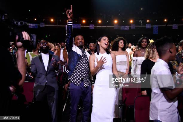 Host Jamie Foxx and Corinne Foxx attend at the 2018 BET Awards at Microsoft Theater on June 24 2018 in Los Angeles California