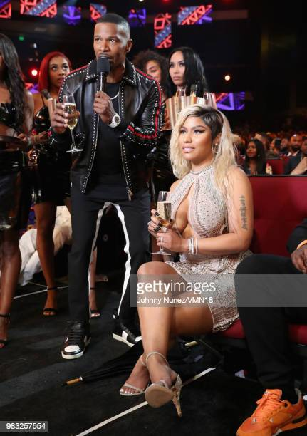 Host Jamie Foxx and Nicki Minaj attend the 2018 BET Awards at Microsoft Theater on June 24 2018 in Los Angeles California