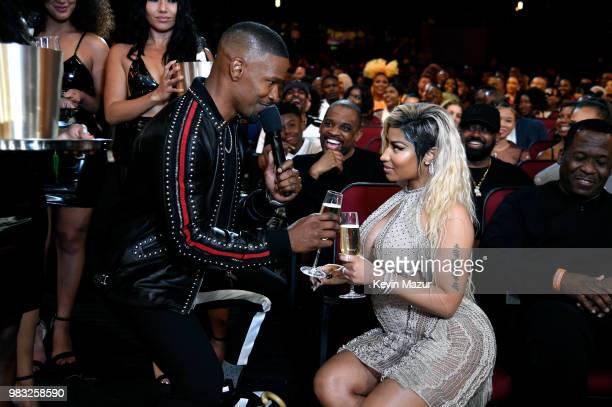Host Jamie Foxx and Nicki Minaj speak during the 2018 BET Awards at Microsoft Theater on June 24 2018 in Los Angeles California