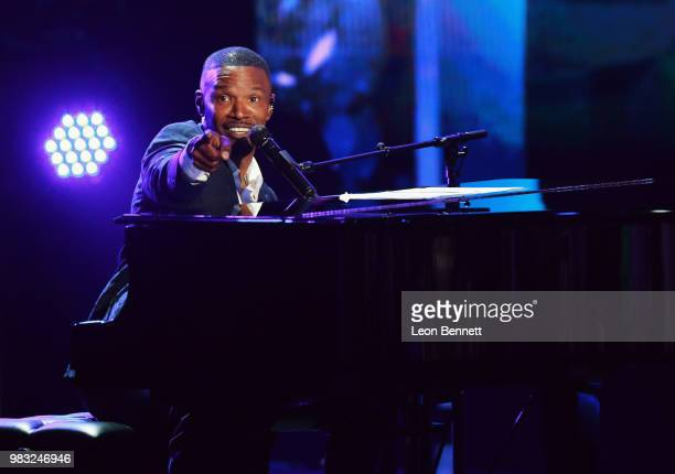 Host Jamie Foxx performs onstage at the 2018 BET Awards at Microsoft Theater on June 24 2018 in Los Angeles California