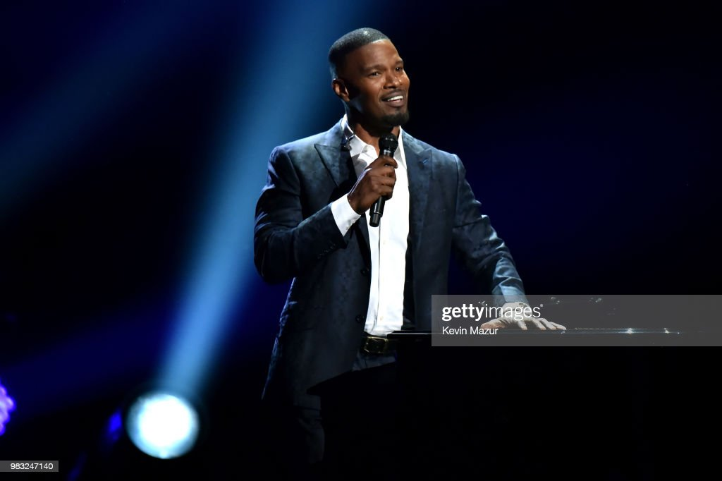 Host Jamie Foxx performs onstage at the 2018 BET Awards at Microsoft Theater on June 24, 2018 in Los Angeles, California.
