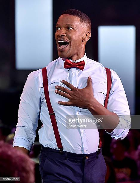 Host Jamie Foxx speaks onstage at the 2015 iHeartRadio Music Awards which broadcasted live on NBC from The Shrine Auditorium on March 29 2015 in Los...