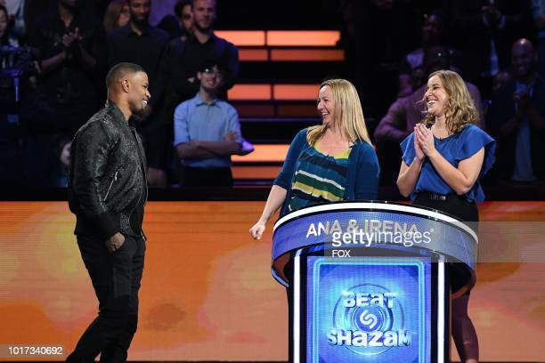 Host Jamie Foxx with contestants Ana and Irena in the allnew 'Episode Eight' episode of BEAT SHAZAM airing Tuesday July 31 on FOX