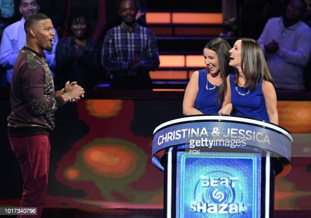 Host Jamie Foxx with contestants Christina and Jessica in the all-new Episode Twelve episode of BEAT SHAZAM airing Tuesday, Aug. 21 on FOX.
