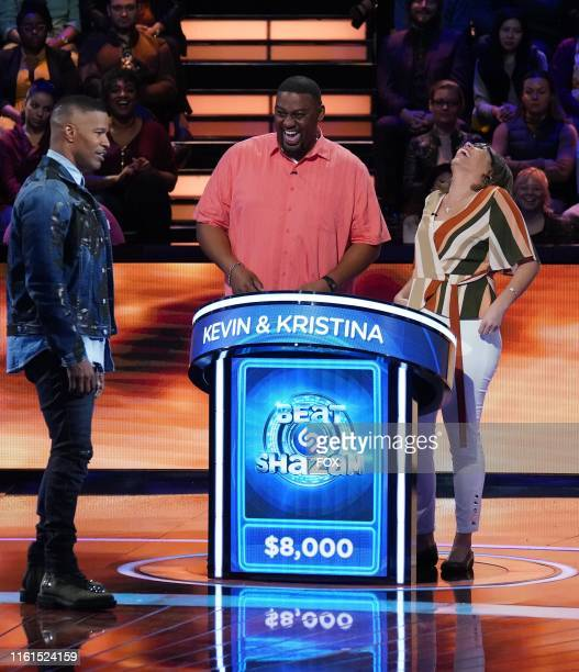 Host Jamie Foxx with contestants Kevin and Kristina in the Beauty and the Beats episode of BEAT SHAZAM airing Monday June 3 on FOX