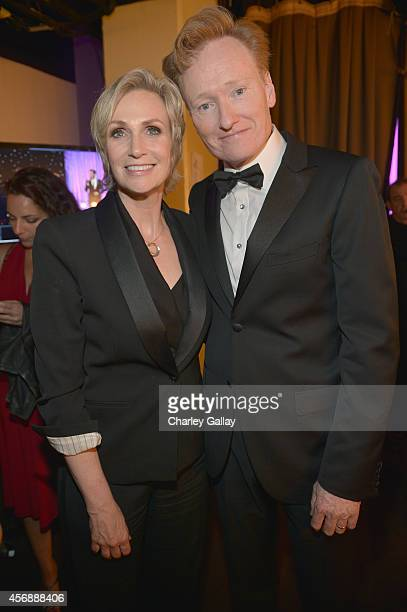Host Jane Lynch and Conan O'Brien attend the 2014 Princess Grace Awards Gala with presenting sponsor Christian Dior Couture at the Beverly Wilshire...