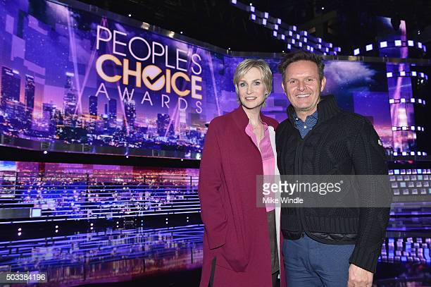 Host Jane Lynch and producer Mark Burnett attend the People's Choice Awards 2016 press day at Microsoft Theater on January 4 2016 in Los Angeles...