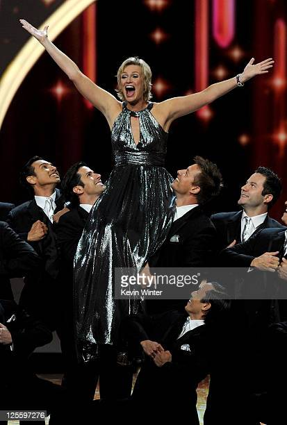 Host Jane Lynch performs onstage during the 63rd Annual Primetime Emmy Awards held at Nokia Theatre LA LIVE on September 18 2011 in Los Angeles...