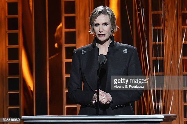 Host Jane Lynch speaks onstage at the 68th Annual Directors Guild Of America Awards at the Hyatt Regency Century Plaza on February 6 2016 in Los...