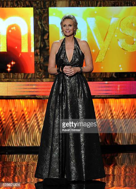 Host Jane Lynch speaks onstage during the 63rd Annual Primetime Emmy Awards held at Nokia Theatre LA LIVE on September 18 2011 in Los Angeles...
