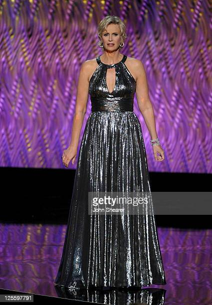 Host Jane Lynch speaks onstage during the 63rd Primetime Emmy Awards at the Nokia Theatre LA Live on September 18 2011 in Los Angeles United States