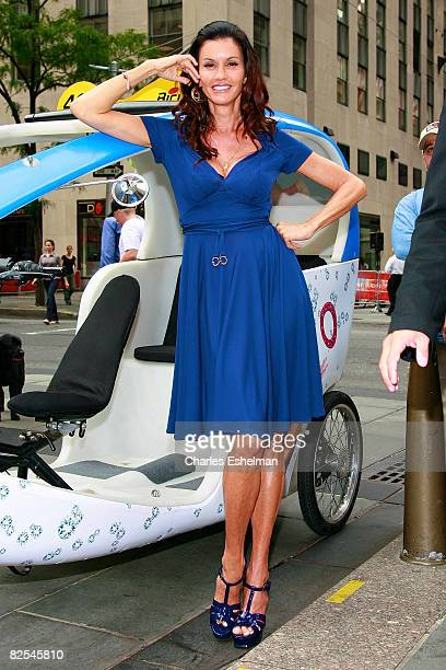 Host Janice Dickinson Hosts a model walkoff competition at the NBC Experience Store on August 25 2008 in New York City
