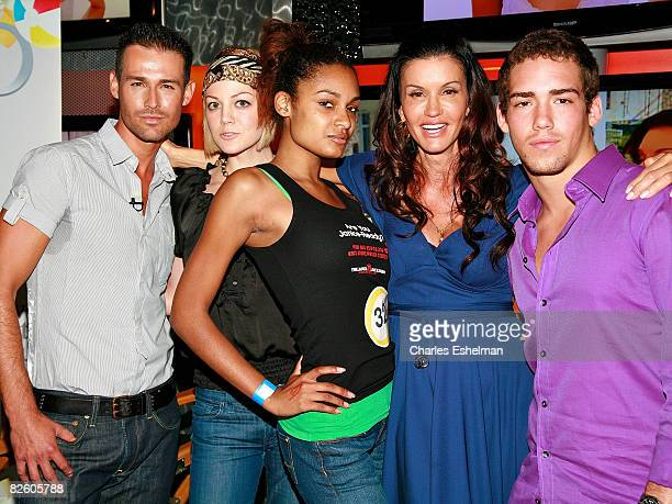 TV host Janice Dickinson poses with models JP Calderon Crystal Truehart winning model Amber Walker and Nathan Fields during a model walkoff...