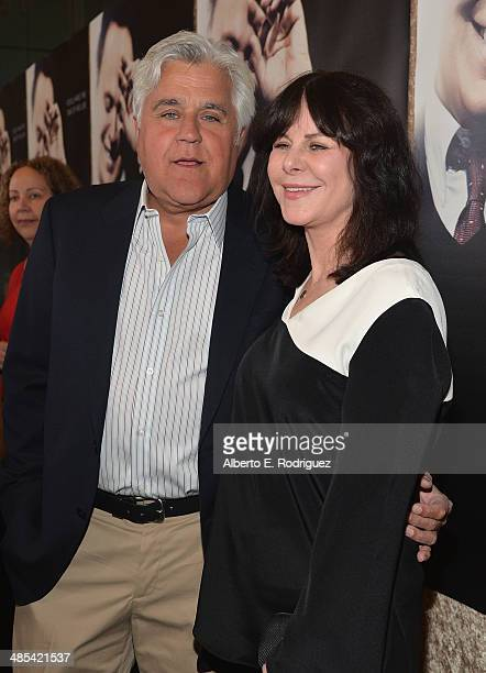 TV host Jay Leno and wife Mavis Leno arrives to an exclusive presentation of HBO's Billy Crystal 700 Sundays at Ray Kurtzman Theater on April 17 2014...