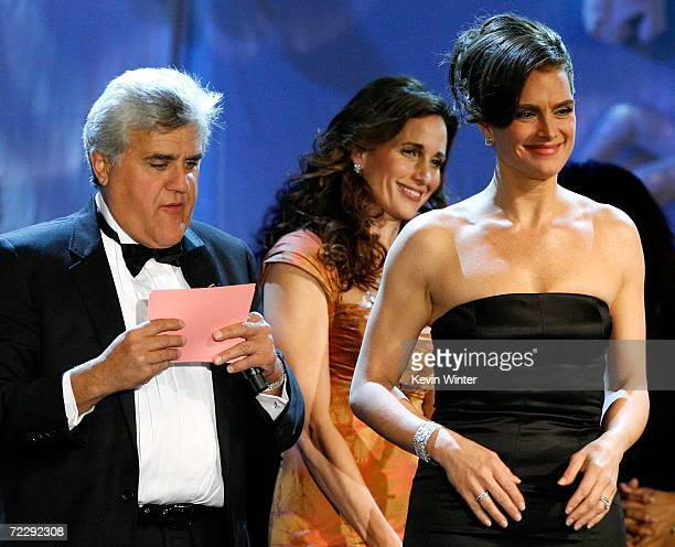 Host Jay Leno auctions jewelry worn by model/actresses Andie MacDowell and Brooke Shields during at the 17th Annual MercedesBenz Carousel of Hope...