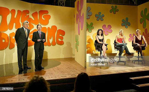 Host Jay Leno Democratic presidential candidate Dennis Kucinich and actresses Jennifer Tilly Kim Serafin and Cybill Shepherd perform a Dating Game...