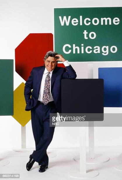 Host Jay Leno Posing for Chicago set