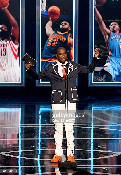 Host Jay Pharaoh speaks onstage during The Players' Awards presented by BET at the Rio Hotel Casino on July 19 2015 in Las Vegas Nevada