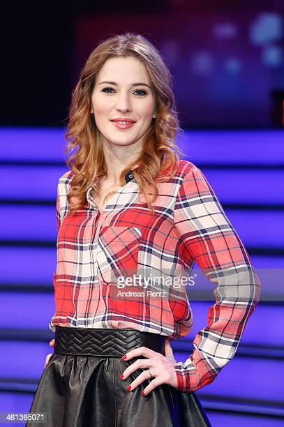 TV host Jeannine Michaelsen attends a photocall for the TV show 'Millionaerswahl' on January 8 2014 in Cologne Germany The show will premiere on...