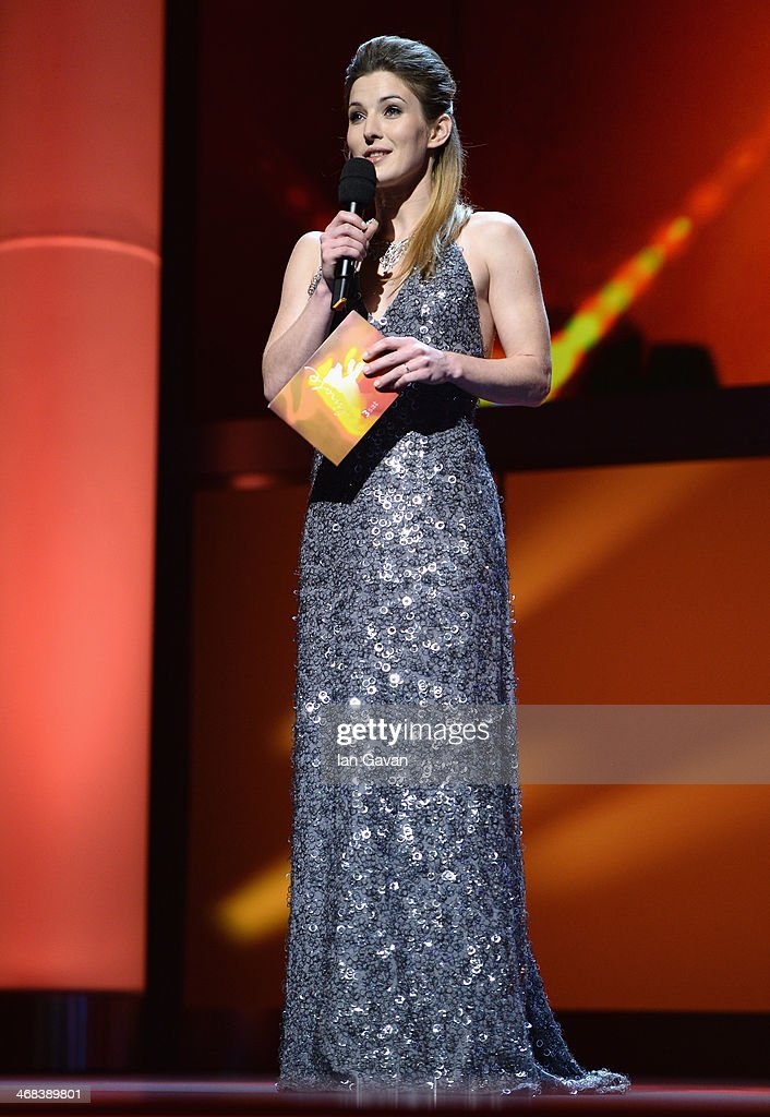 Host Jeannine Michaelsen on stage at the Shooting Stars stage presentation during the 64th Berlinale International Film Festival at the Berlinale Palast on February 10, 2014 in Berlin, Germany.