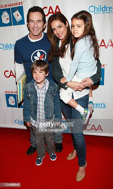 TV host Jeff Probst actress Lisa Ann Russell and her children Michael Gosselaar and Ava Gosselaar attend the 2nd Annual Milk Bookies Story Time...