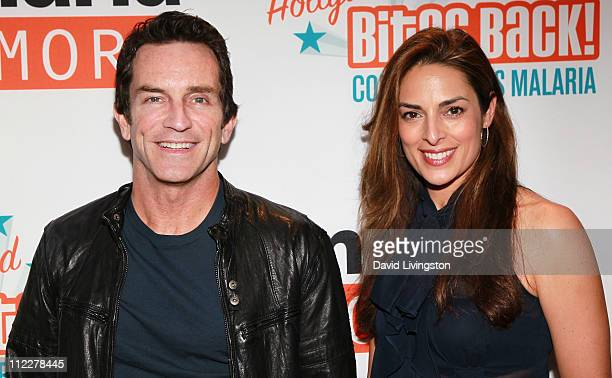 TV host Jeff Probst and actress Lisa Ann Russell attend Malaria No More's Hollywood Bites Back event at Club Nokia at LA Live on April 16 2011 in Los...