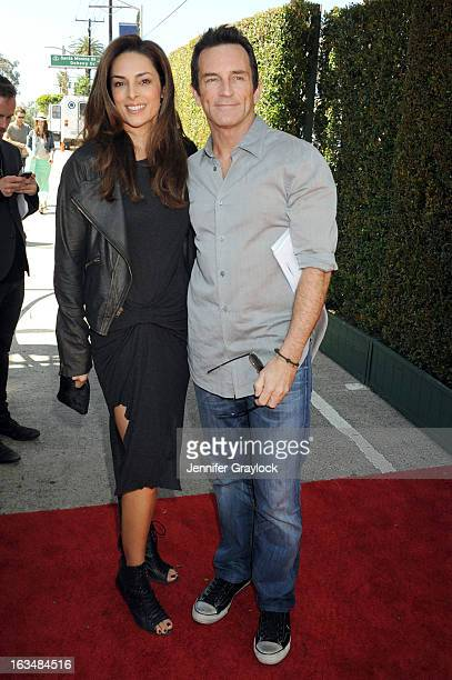 Host Jeff Probst and wife Lisa Ann Russell attends the John Varvatos 10th Annual Stuart House Benefit held at John Varvatos Los Angeles store on...