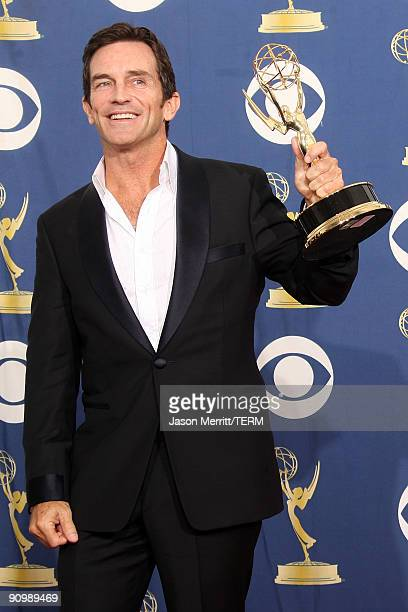 Host Jeff Probst poses in the press room with his Emmy for Outstanding Host for a Reality or RealityCompetition Program for 'Survivor' at the 61st...