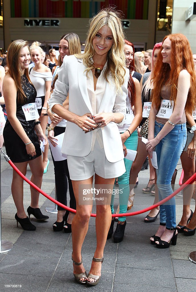 Host Jennifer Hawkins arrives at the Sydney audition for Season 8 of 'Australia's Next Top Model' on January 19, 2013 in Sydney, Australia.