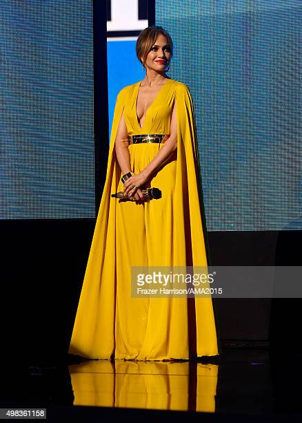 Host Jennifer Lopez onstage during the 2015 American Music Awards at Microsoft Theater on November 22 2015 in Los Angeles California