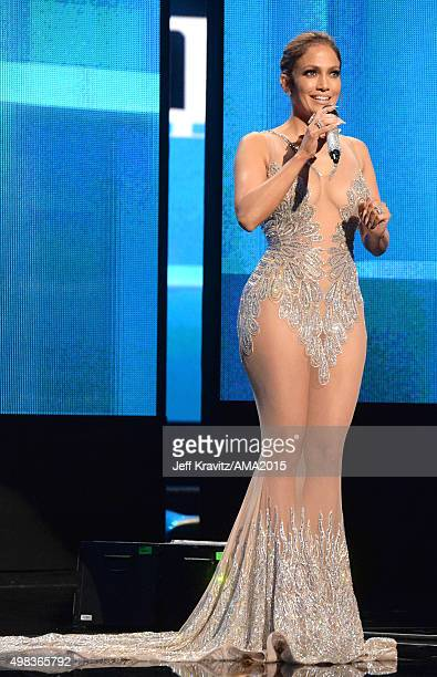 Host Jennifer Lopez speaks onstage during the 2015 American Music Awards at Microsoft Theater on November 22 2015 in Los Angeles California