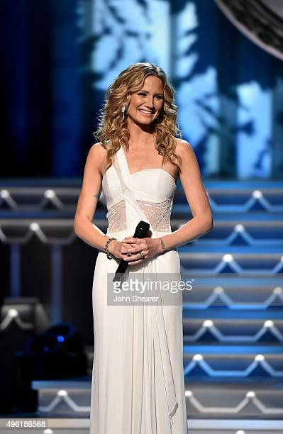 Host Jennifer Nettles performs during the CMA 2015 Country Christmas on November 7 2015 in Nashville Tennessee