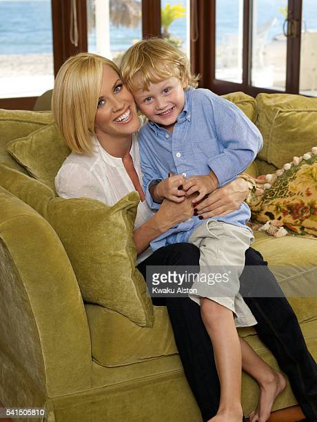 Host Jenny McCarthy and son Evan are photographed for People Magazine in 2007.