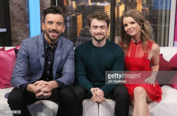 Host Jeremy Parsons, actor Daniel Radcliffe and host Andrea Boehlke visit People Now on December 06, 2019 in New York, United States.