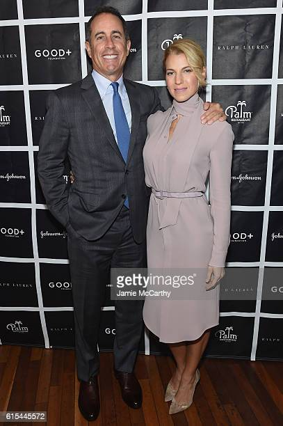 Host Jerry Seinfeld and Founder and President of GOOD+ Foundation Jessica Seinfeld attend the New York Fatherhood Lunch to benefit GOOD+ Foundation...