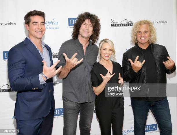 TV host Jesse Watters KISS guitarist Tommy Thayer TV personality Dana Perino and artist Jason Scheff attend the 17th annual Waiting for Wishes...