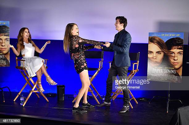 """Host Jessi Cruickshank, actors Cara Delevingne and Nat Wolff attend the Canadian Premiere Of 20th Century Fox's """"Paper Towns"""" at Scotiabank Theatre..."""