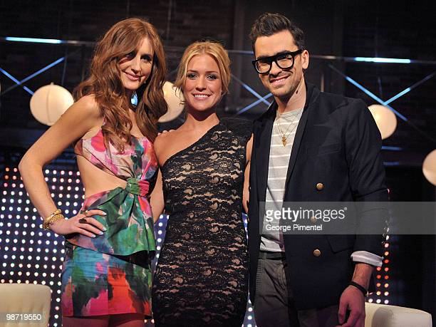 MTV host Jessi Cruickshank actress Kristin Cavallari and MTV host Dan Levy visit MTV Canada for a live interview on The After Show at the Masonic...