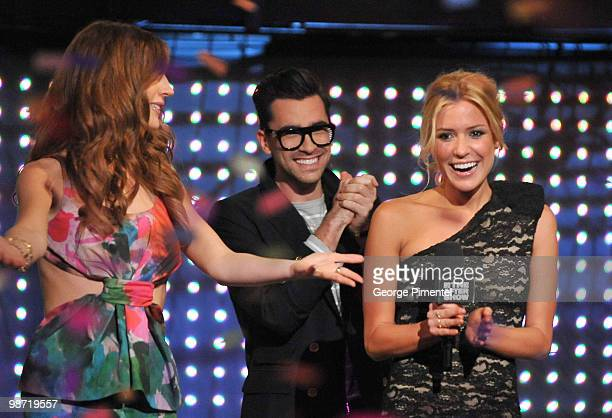MTV host Jessi Cruickshank MTV host Dan Levy and actress Kristin Cavallari visit MTV Canada for a live interview on The After Show at the Masonic...