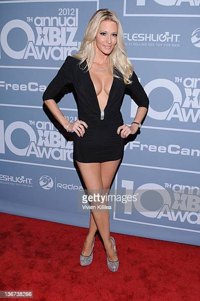 Host Jessica Drake attends the 10th Annual XBIZ Awards at The Barker Hanger on January 10 2012 in Santa Monica California